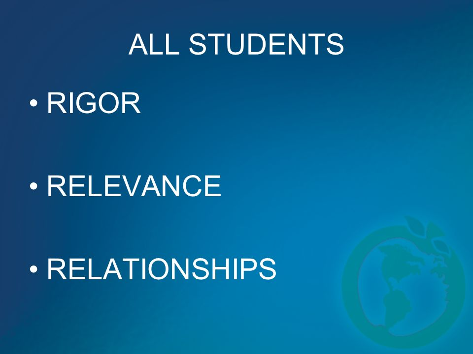 ALL STUDENTS RIGOR RELEVANCE RELATIONSHIPS