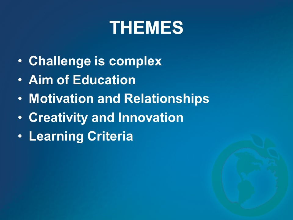 THEMES Challenge is complex Aim of Education Motivation and Relationships Creativity and Innovation Learning Criteria