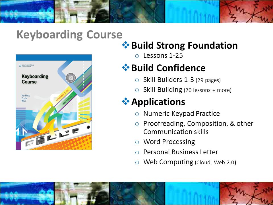 Keyboarding Course Build Strong Foundation o Lessons 1-25 Build Confidence o Skill Builders 1-3 (29 pages) o Skill Building (20 lessons + more) Applications o Numeric Keypad Practice o Proofreading, Composition, & other Communication skills o Word Processing o Personal Business Letter o Web Computing (Cloud, Web 2.0)