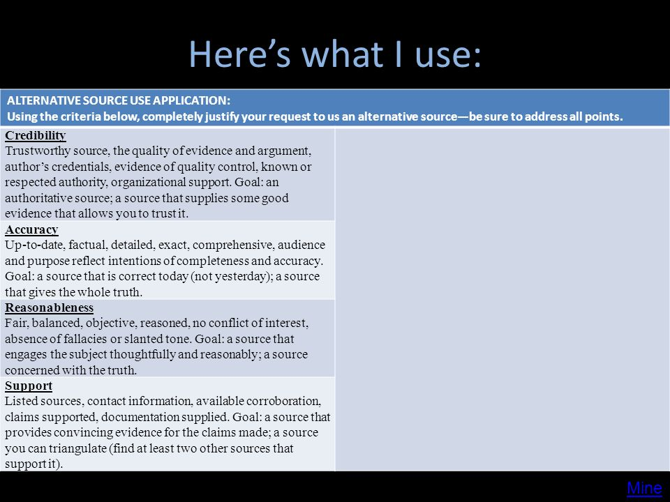 Heres what I use: ALTERNATIVE SOURCE USE APPLICATION: Using the criteria below, completely justify your request to us an alternative sourcebe sure to address all points.
