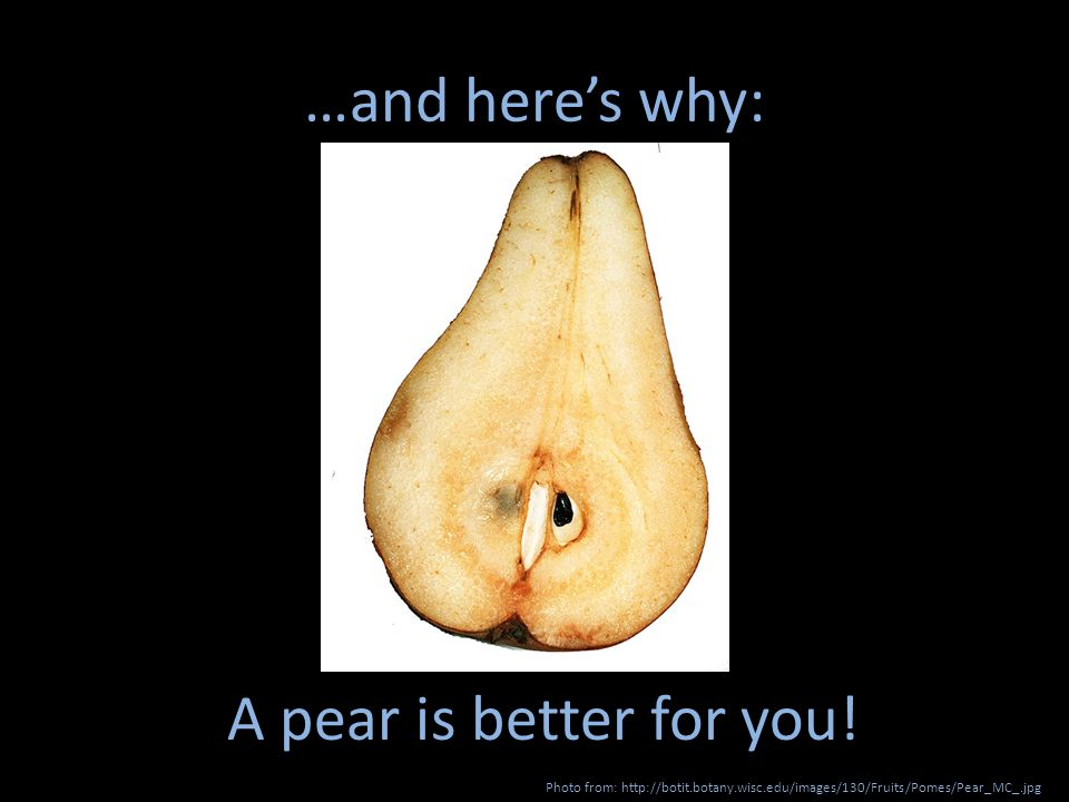 …and heres why: Photo from: http://botit.botany.wisc.edu/images/130/Fruits/Pomes/Pear_MC_.jpg A pear is better for you!