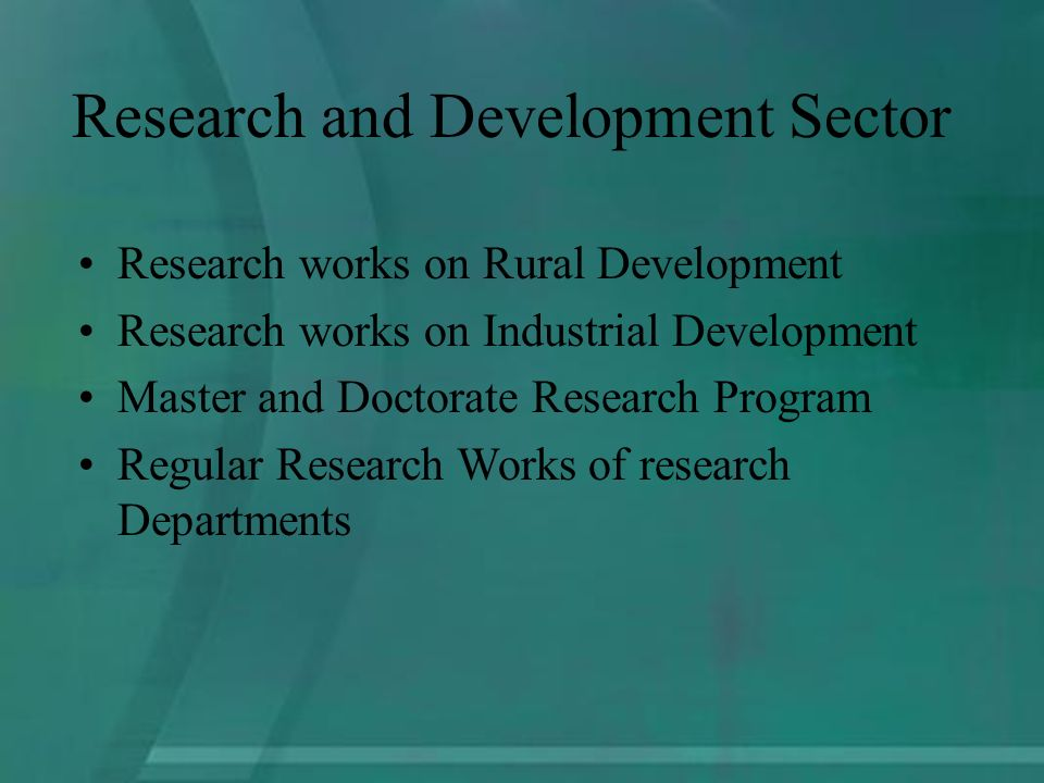 Research works on Rural Development Research works on Industrial Development Master and Doctorate Research Program Regular Research Works of research Departments Research and Development Sector