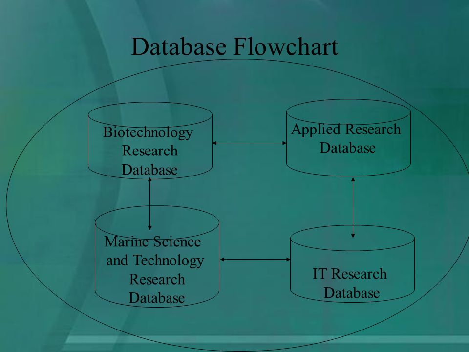 Database Flowchart Applied Research DatabaseIT Research Database Biotechnology Research Database Marine Science and Technology Research Database