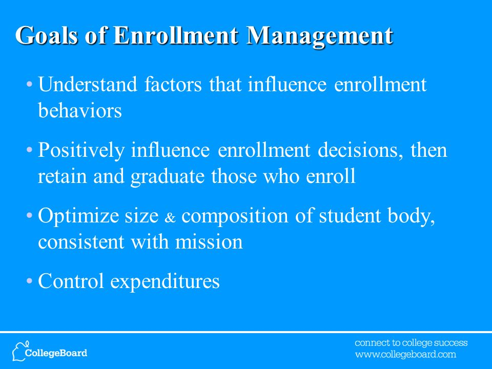 Goals of Enrollment Management Understand factors that influence enrollment behaviors Positively influence enrollment decisions, then retain and graduate those who enroll Optimize size & composition of student body, consistent with mission Control expenditures