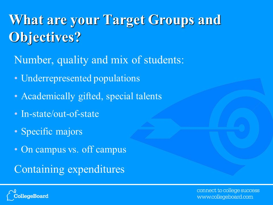 What are your Target Groups and Objectives.