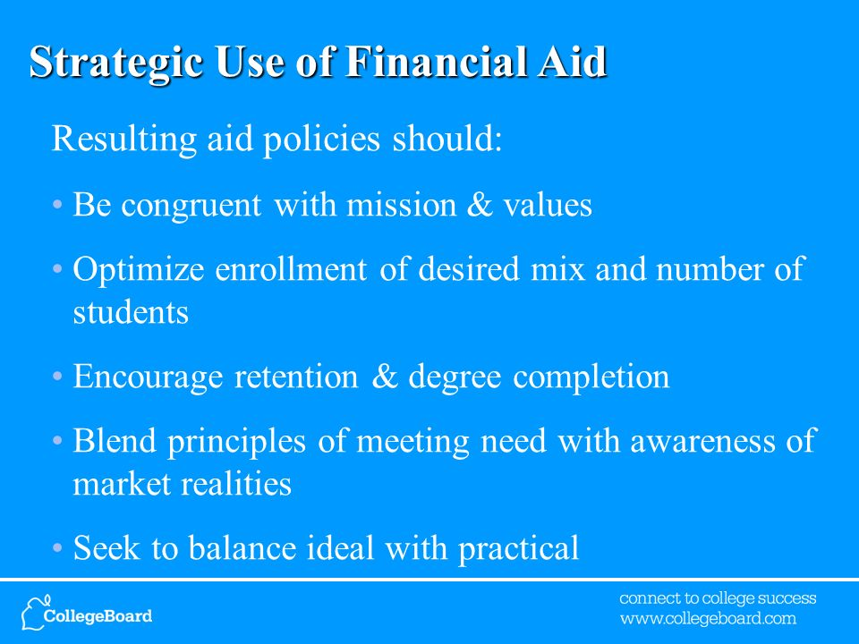 Strategic Use of Financial Aid Resulting aid policies should: Be congruent with mission & values Optimize enrollment of desired mix and number of students Encourage retention & degree completion Blend principles of meeting need with awareness of market realities Seek to balance ideal with practical
