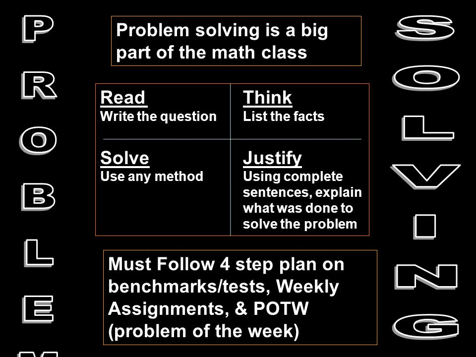 Problem solving is a big part of the math class Must Follow 4 step plan on benchmarks/tests, Weekly Assignments, & POTW (problem of the week) ReadThink Write the questionList the facts SolveJustify Use any methodUsing complete sentences, explain what was done to solve the problem