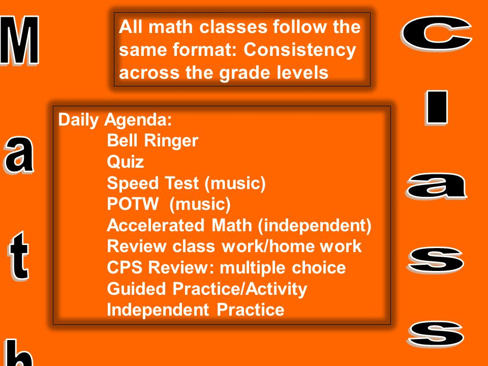 All math classes follow the same format: Consistency across the grade levels Daily Agenda: Bell Ringer Quiz Speed Test (music) POTW (music) Accelerated Math (independent) Review class work/home work CPS Review: multiple choice Guided Practice/Activity Independent Practice