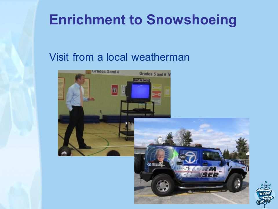 Enrichment to Snowshoeing Visit from a local weatherman