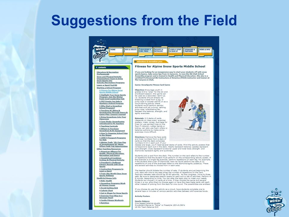Suggestions from the Field