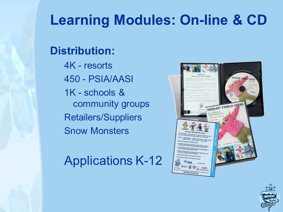 Learning Modules: On-line & CD Distribution: 4K - resorts 450 - PSIA/AASI 1K - schools & community groups Retailers/Suppliers Snow Monsters Applications K-12