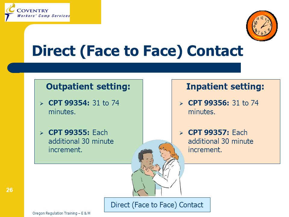 26 Oregon Regulation Training – E & M Direct (Face to Face) Contact Outpatient setting: CPT 99354: 31 to 74 minutes.