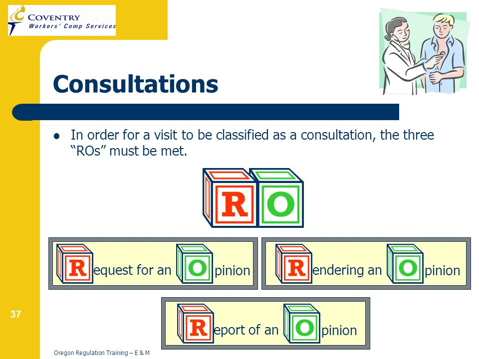 37 Oregon Regulation Training – E & M Consultations In order for a visit to be classified as a consultation, the three ROs must be met.