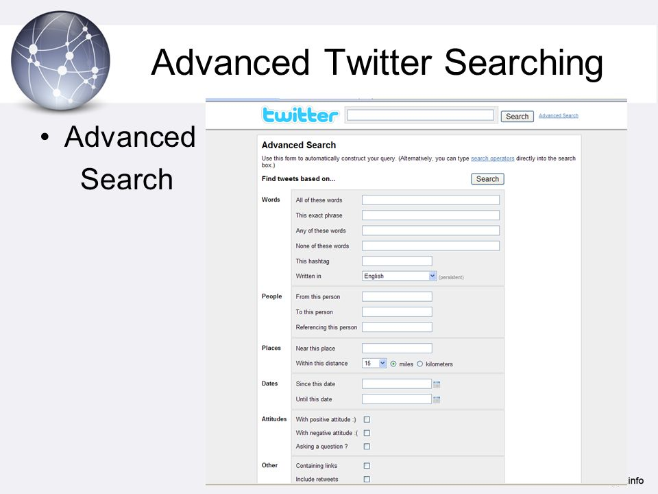 Advanced Twitter Searching Advanced Search