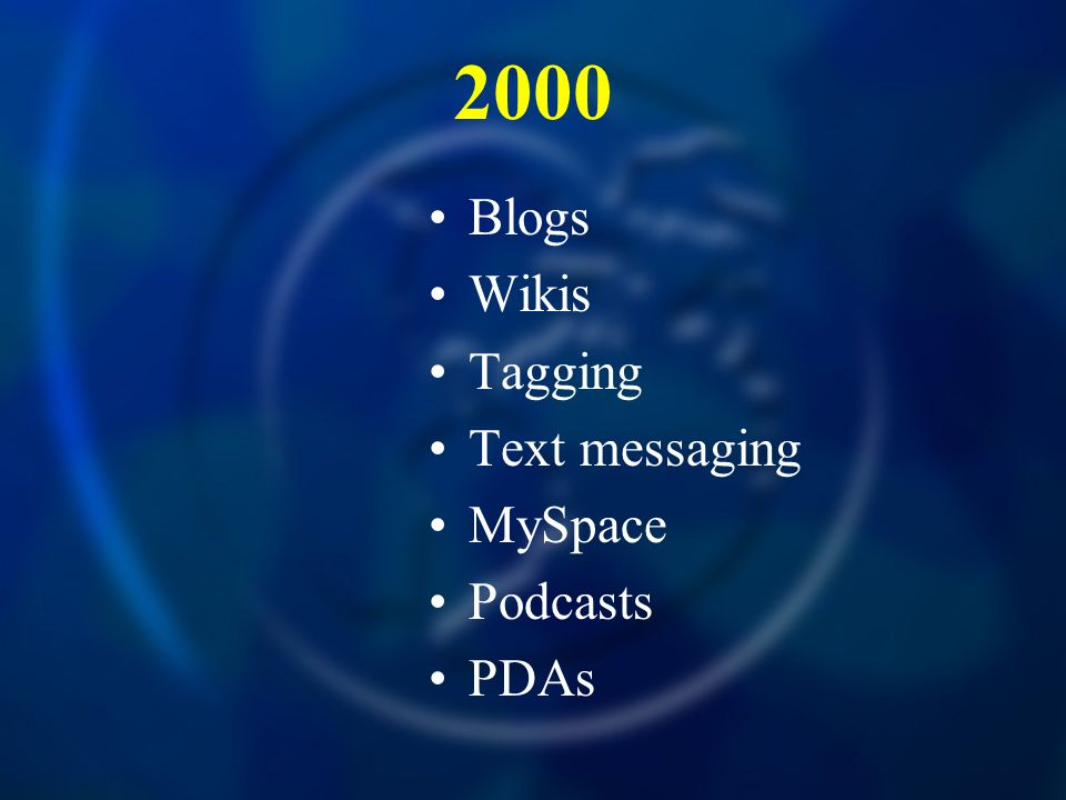 Blogs Wikis Tagging Text messaging MySpace Podcasts PDAs 2000