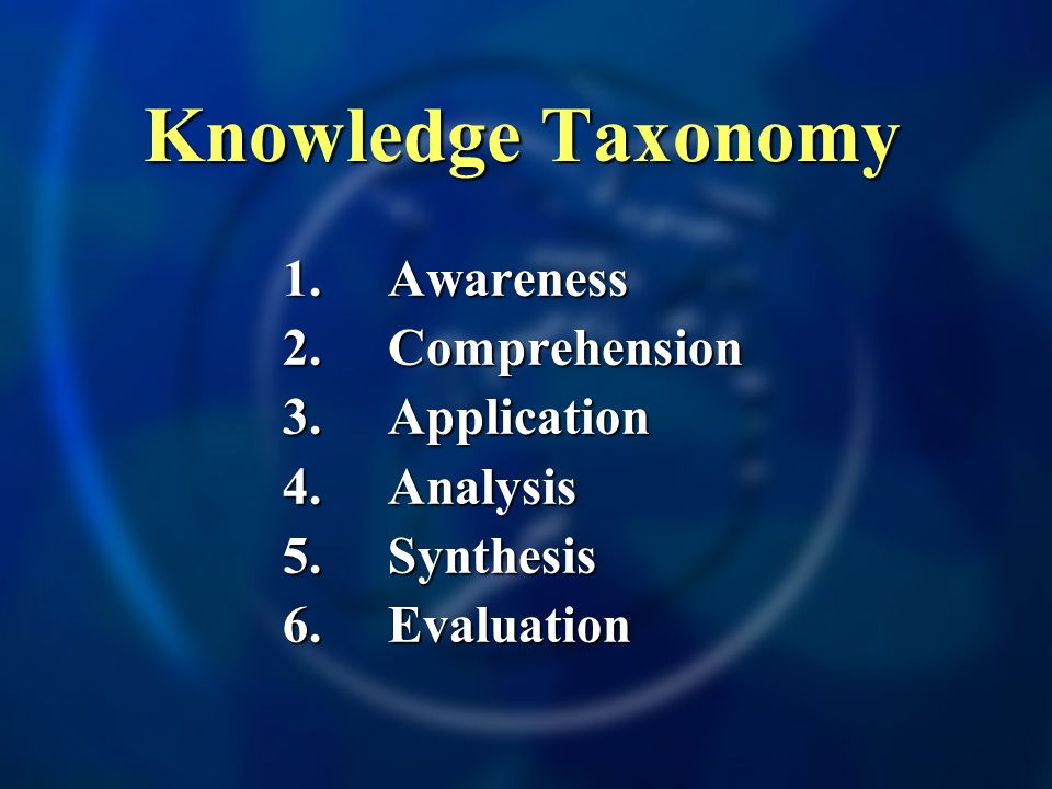 1.Awareness 2.Comprehension 3.Application 4.Analysis 5.Synthesis 6.Evaluation Knowledge Taxonomy Knowledge Taxonomy