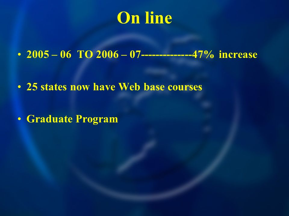 On line 2005 – 06 TO 2006 – % increase 25 states now have Web base courses Graduate Program