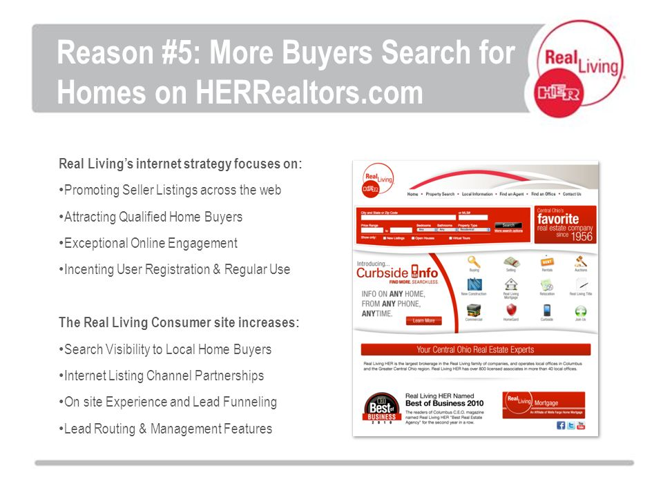 Real Livings internet strategy focuses on: Promoting Seller Listings across the web Attracting Qualified Home Buyers Exceptional Online Engagement Incenting User Registration & Regular Use The Real Living Consumer site increases: Search Visibility to Local Home Buyers Internet Listing Channel Partnerships On site Experience and Lead Funneling Lead Routing & Management Features Reason #5: More Buyers Search for Homes on HERRealtors.com
