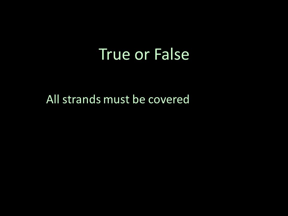 True or False All strands must be covered