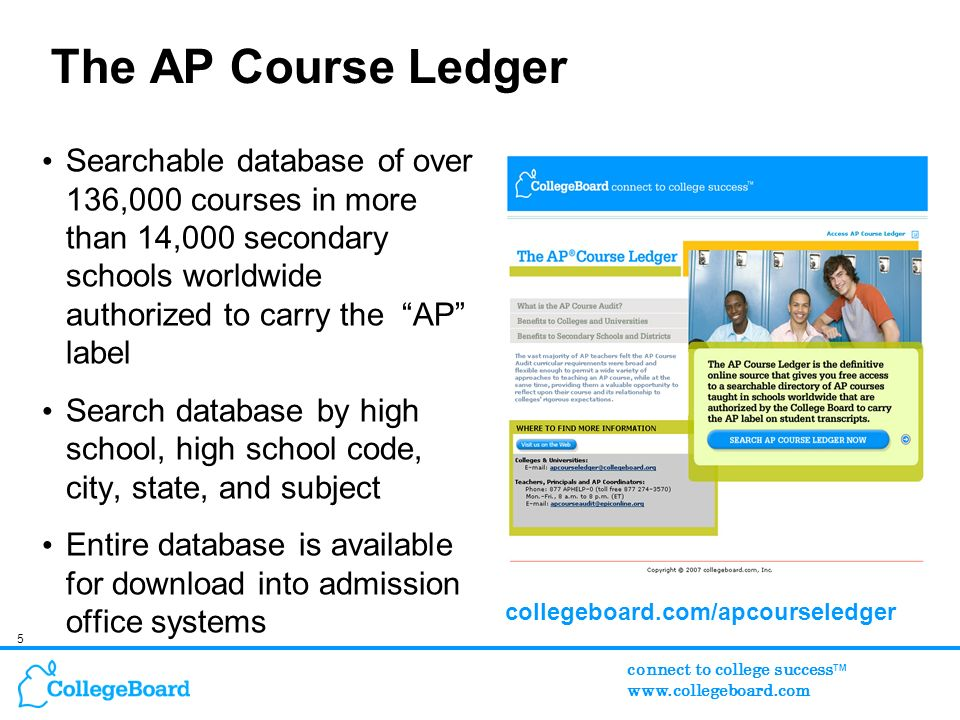 5 connect to college success TM www.collegeboard.com The AP Course Ledger Searchable database of over 136,000 courses in more than 14,000 secondary schools worldwide authorized to carry the AP label Search database by high school, high school code, city, state, and subject Entire database is available for download into admission office systems collegeboard.com/apcourseledger