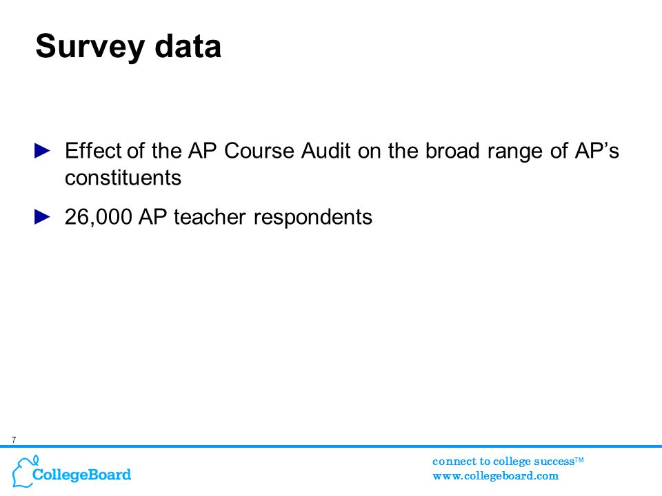 7 connect to college success TM www.collegeboard.com Survey data Effect of the AP Course Audit on the broad range of APs constituents 26,000 AP teacher respondents