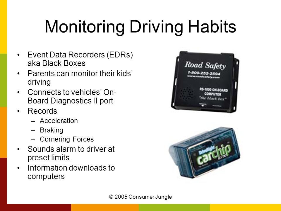 © 2005 Consumer Jungle Monitoring Driving Habits Event Data Recorders (EDRs) aka Black Boxes Parents can monitor their kids driving Connects to vehicles On- Board Diagnostics II port Records –Acceleration –Braking –Cornering Forces Sounds alarm to driver at preset limits.