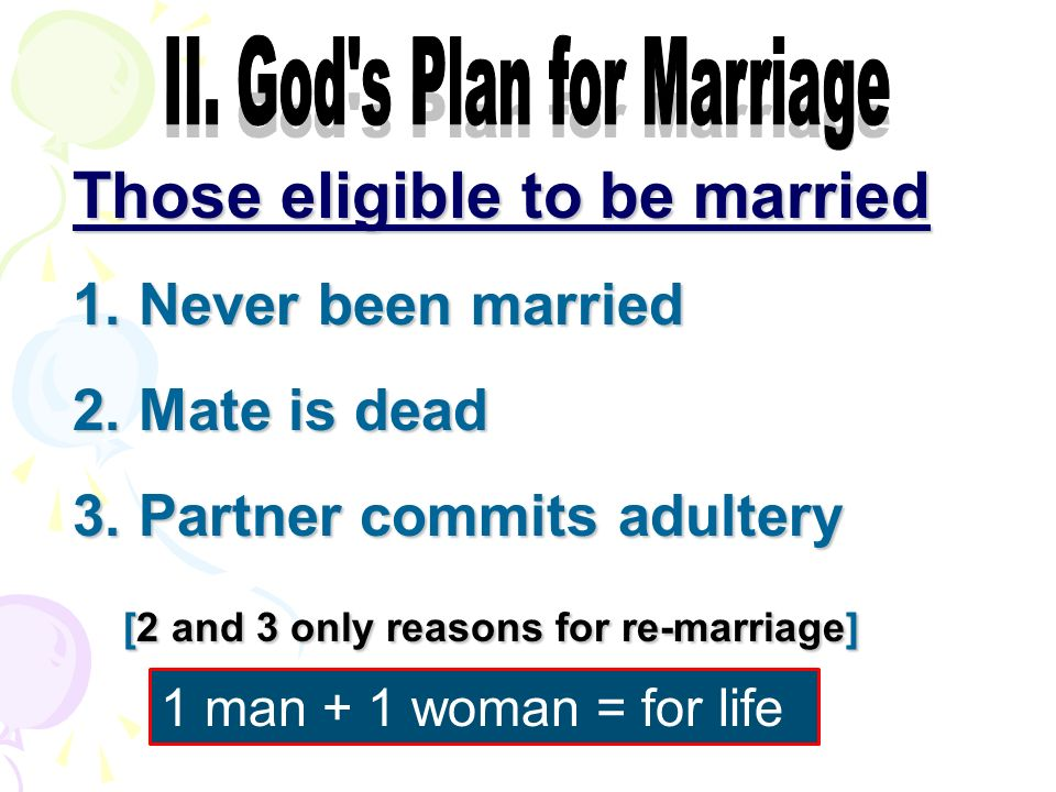 Those eligible to be married 1. Never been married 2.