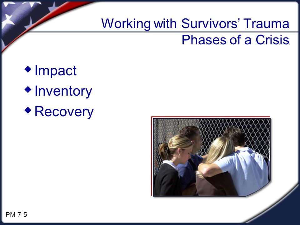 Working with Survivors Trauma Phases of a Crisis Impact Inventory Recovery PM 7-5
