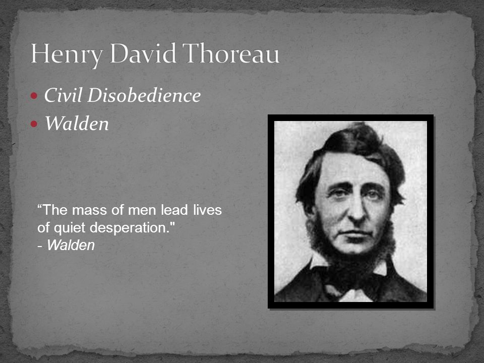 Civil Disobedience Walden The mass of men lead lives of quiet desperation. - Walden