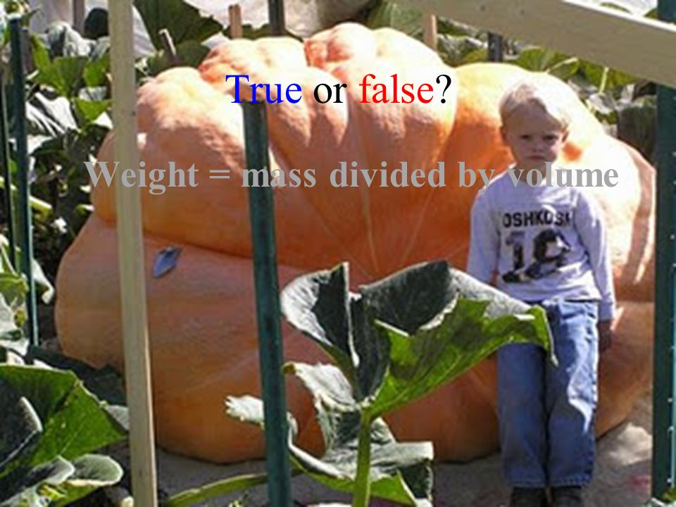 True or false Weight = mass divided by volume
