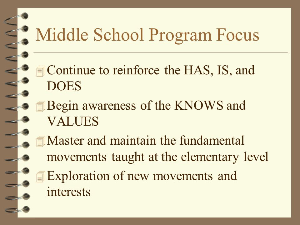 Middle School Program Focus 4 Continue to reinforce the HAS, IS, and DOES 4 Begin awareness of the KNOWS and VALUES 4 Master and maintain the fundamental movements taught at the elementary level 4 Exploration of new movements and interests