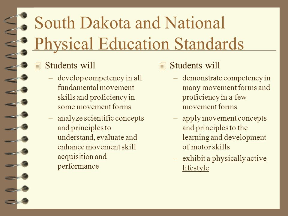 South Dakota and National Physical Education Standards 4 Students will –develop competency in all fundamental movement skills and proficiency in some movement forms –analyze scientific concepts and principles to understand, evaluate and enhance movement skill acquisition and performance 4 Students will –demonstrate competency in many movement forms and proficiency in a few movement forms –apply movement concepts and principles to the learning and development of motor skills –exhibit a physically active lifestyle