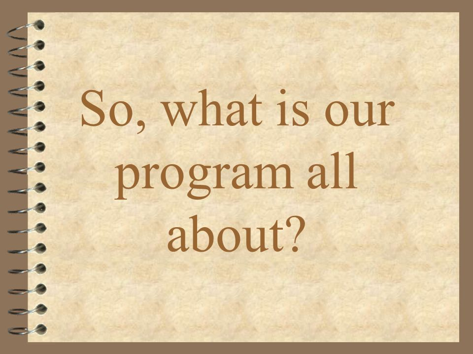So, what is our program all about
