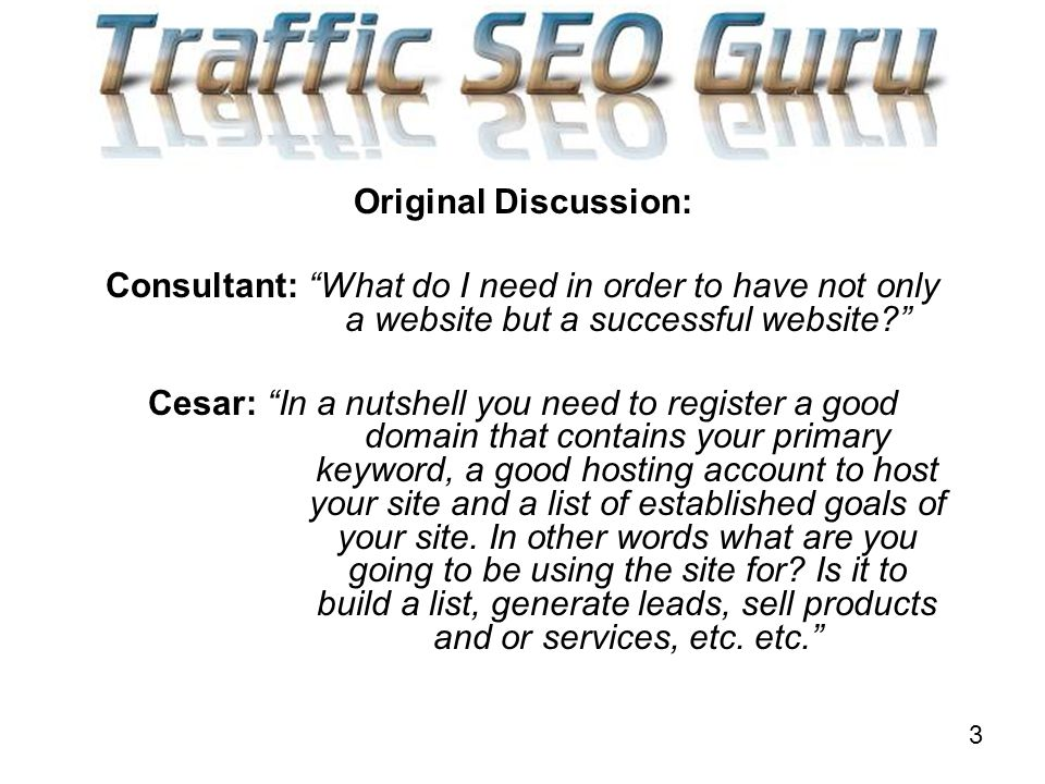 3 Original Discussion: Consultant: What do I need in order to have not only a website but a successful website.