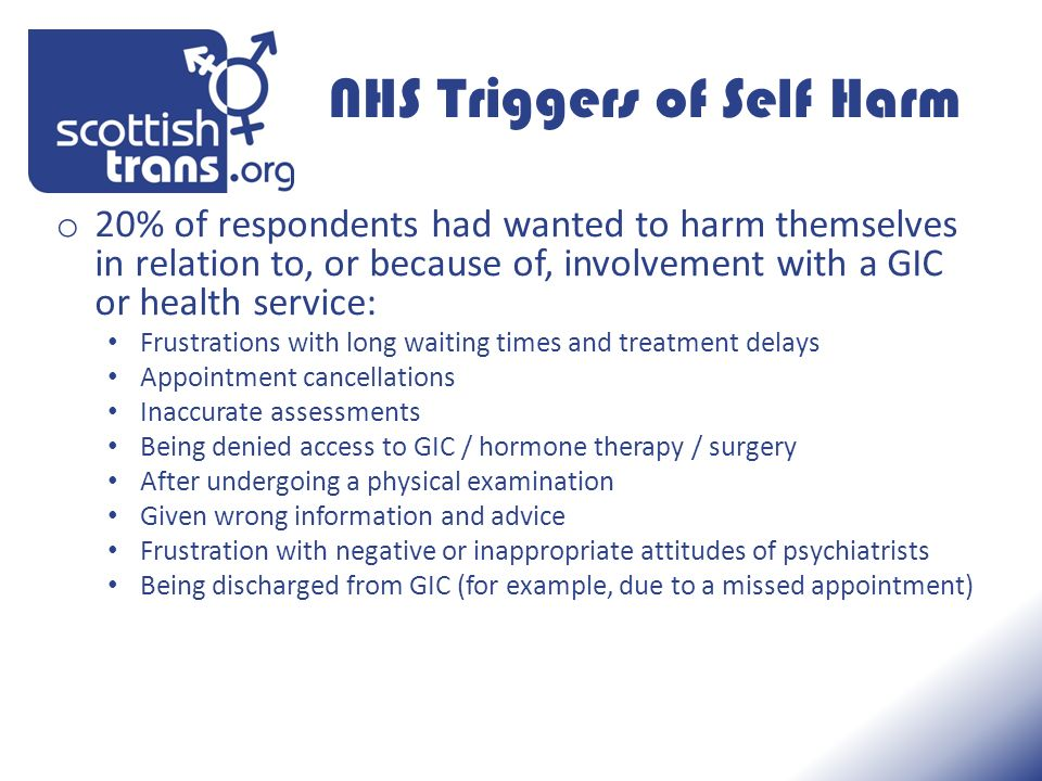 NHS Triggers of Self Harm o 20% of respondents had wanted to harm themselves in relation to, or because of, involvement with a GIC or health service: Frustrations with long waiting times and treatment delays Appointment cancellations Inaccurate assessments Being denied access to GIC / hormone therapy / surgery After undergoing a physical examination Given wrong information and advice Frustration with negative or inappropriate attitudes of psychiatrists Being discharged from GIC (for example, due to a missed appointment)