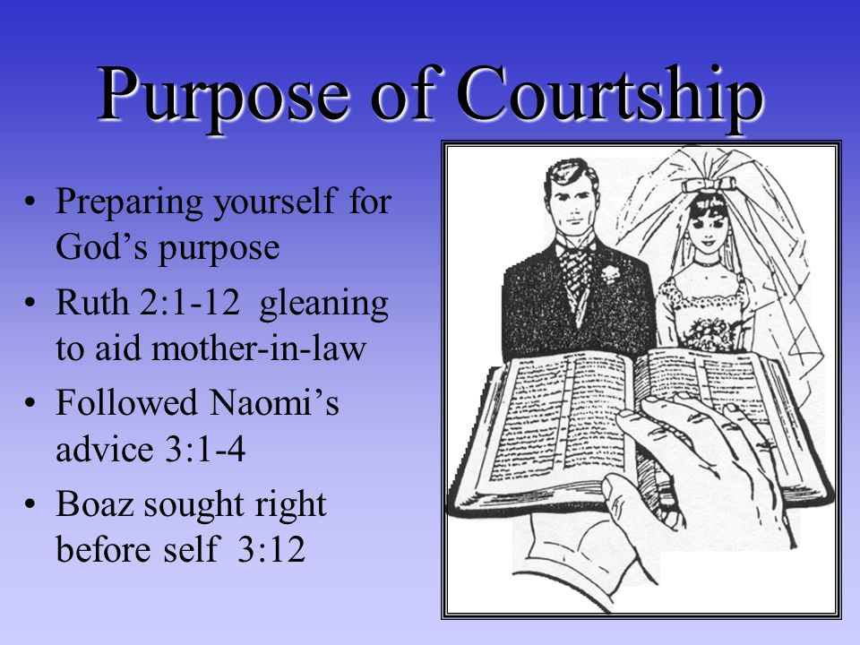 Purpose of Courtship Preparing yourself for Gods purpose Ruth 2:1-12 gleaning to aid mother-in-law Followed Naomis advice 3:1-4 Boaz sought right before self 3:12