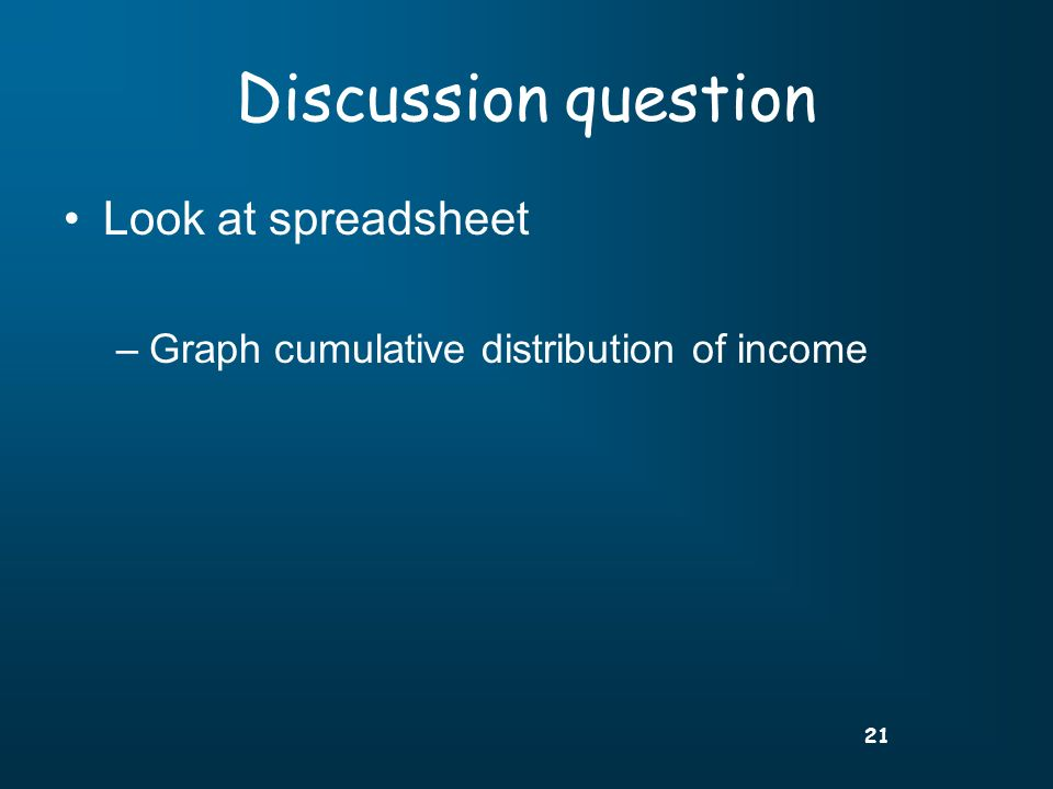 21 Discussion question Look at spreadsheet –Graph cumulative distribution of income