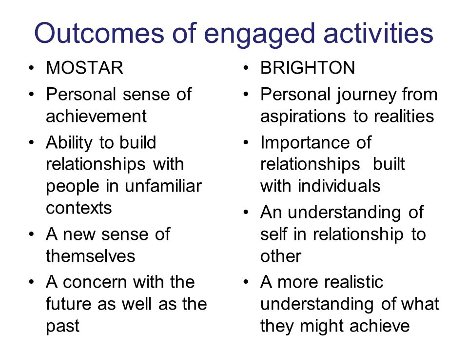 Outcomes of engaged activities MOSTAR Personal sense of achievement Ability to build relationships with people in unfamiliar contexts A new sense of themselves A concern with the future as well as the past BRIGHTON Personal journey from aspirations to realities Importance of relationships built with individuals An understanding of self in relationship to other A more realistic understanding of what they might achieve
