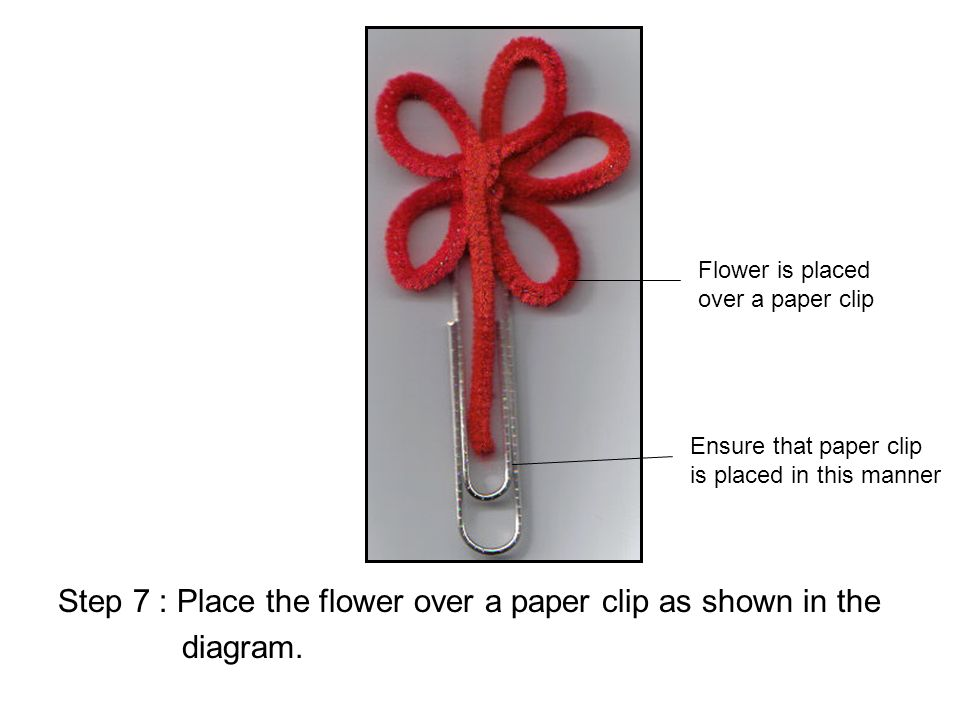Step 7 : Place the flower over a paper clip as shown in the diagram.