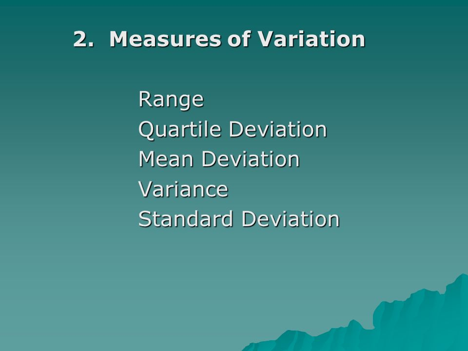 2. Measures of Variation 2.