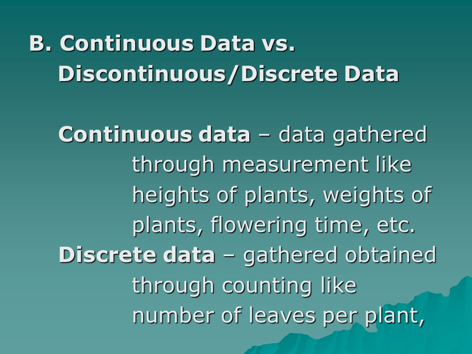 B. Continuous Data vs.