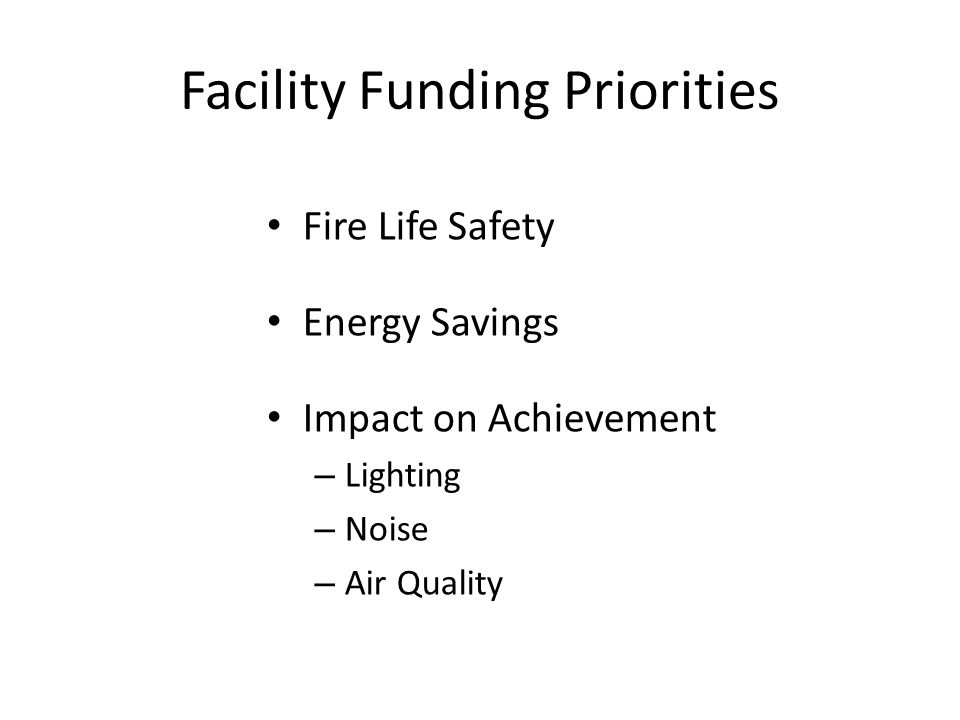 Facility Funding Priorities Fire Life Safety Energy Savings Impact on Achievement – Lighting – Noise – Air Quality