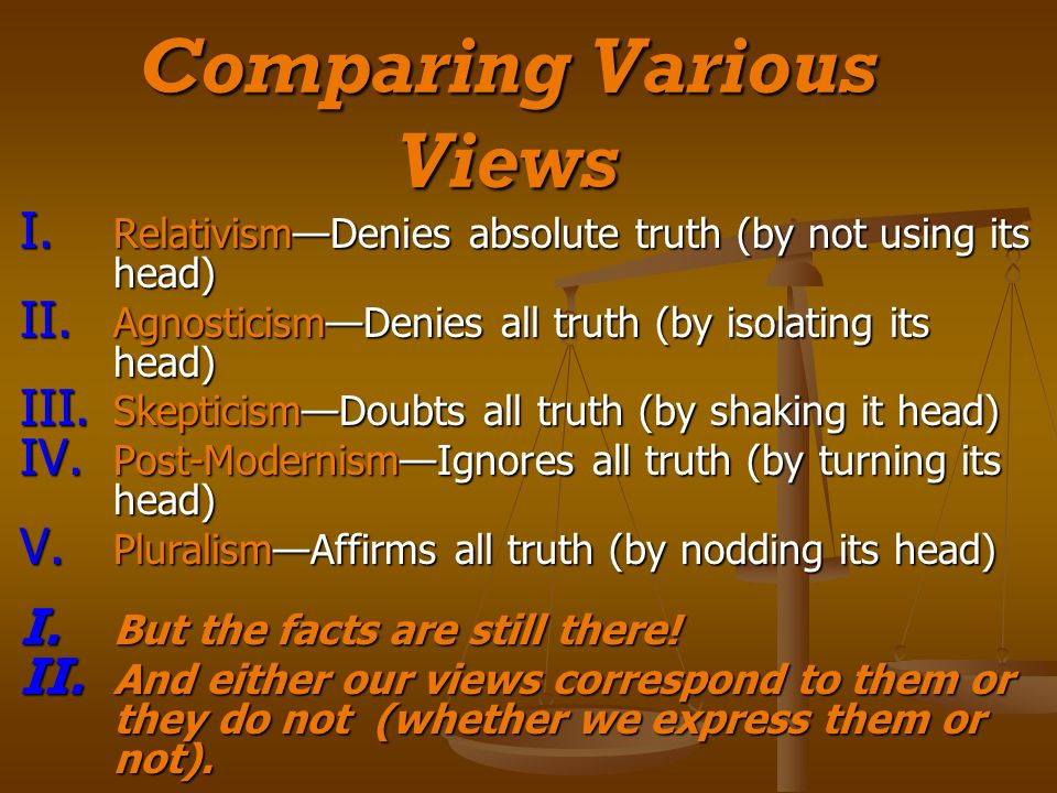 Comparing Various Views I. RelativismDenies absolute truth (by not using its head) II.