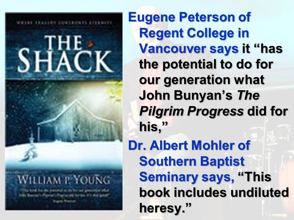 Eugene Peterson of Regent College in Vancouver says it has the potential to do for our generation what John Bunyans The Pilgrim Progress did for his, Dr.