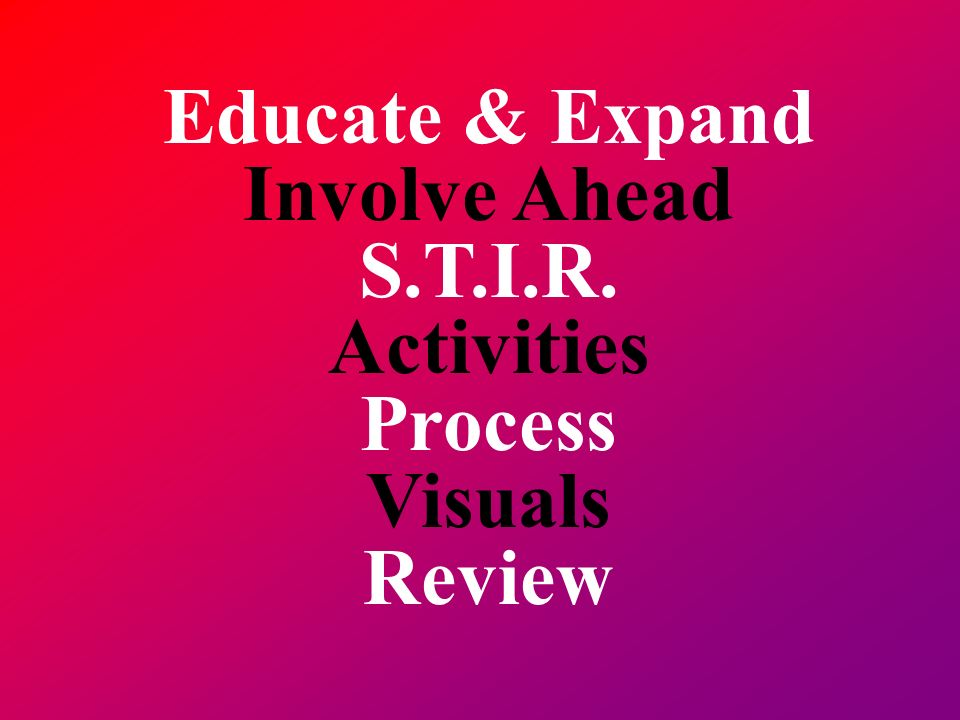 Educate & Expand Involve Ahead S.T.I.R. Activities Process Visuals Review
