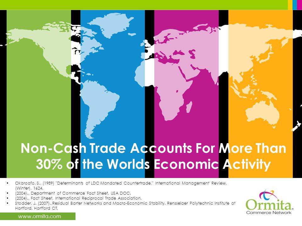 www.ormita.com Non-Cash Trade Accounts For More Than 30% of the Worlds Economic Activity Okaroafo, S., (1989) Determinants of LDC Mandated Countertrade, International Management Review, (Winter), 1624.