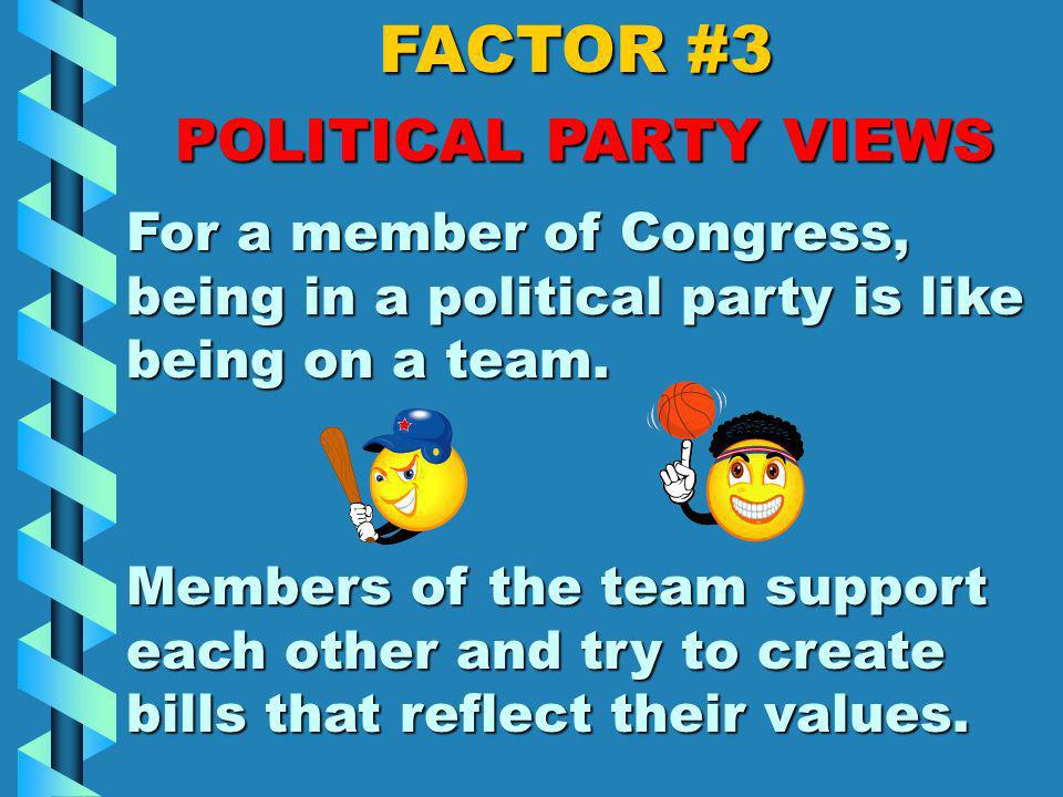 FACTOR #3 POLITICAL PARTY VIEWS People in a political party share similar values.