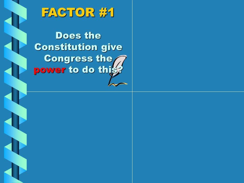 Members of Congress think about FOUR FACTORS when deciding whether to vote for a law.