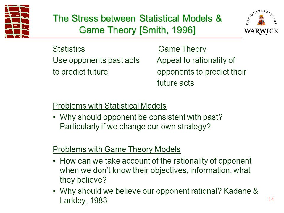 14 Statistics Game Theory Use opponents past acts Appeal to rationality of to predict future opponents to predict their future acts Problems with Statistical Models Why should opponent be consistent with past.