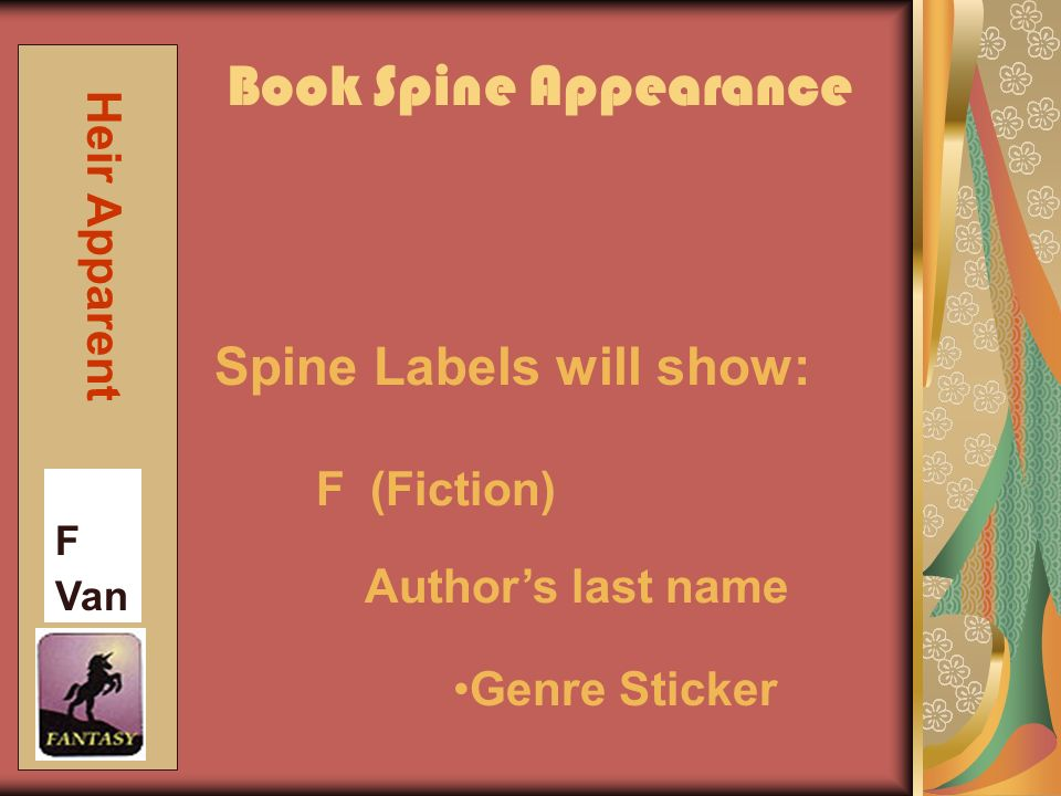 Book Spine Appearance F Van Heir Apparent Spine Labels will show: F (Fiction) Genre Sticker Authors last name